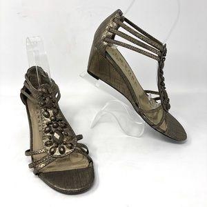 New York Transit Gold Gem Wedge Sandals 6.5
